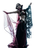 Arabic woman belly dancer dancing silhouette Stock Photography