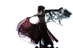 Arabic woman belly dancer dancing silhouette Royalty Free Stock Photography