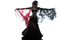 Arabic woman belly dancer dancing silhouette Stock Image