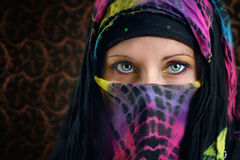 Arabic woman. Close up of young Arabic woman colorful eyes Stock Photography