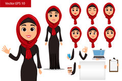 Arabic woman constructor set. Cute cartoon character with various face expressions and things. Royalty Free Stock Image