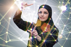 The arabic woman in digital computing concept Royalty Free Stock Photos