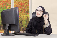 Arabic woman with new idea stock photo