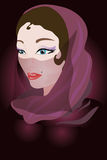 Arabic woman in a violet scarf. Royalty Free Stock Images