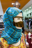 Arabic women face mask and headscarf. Traditional arabic women face mask and headscarf. Dubai, United Arab Emirates Stock Photo