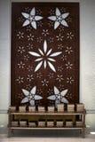 Arabic wood made design inside a mosque Stock Photos