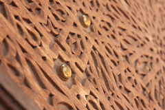 Arabic wooden texture. Woden arabic decor on a door Royalty Free Stock Photography