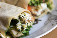 Arabic Wrap sandwich. Close up of fresh Arabic Wrap sandwich Royalty Free Stock Photography