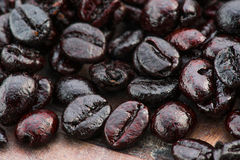 arabica ψημένο μακροεντολή πλάνο καφέ φασολιών Στοκ φωτογραφία με δικαίωμα ελεύθερης χρήσης