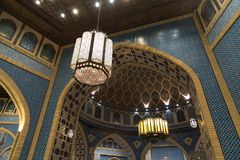Arabica chandelier with traditional style in Ibn Battuta mall in Dubai, UAE Stock Photos