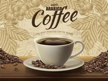 Arabica coffee ads. Realistic black coffee and beans in 3d illustration with retro coffee plants and field scenery in etching shading style royalty free illustration
