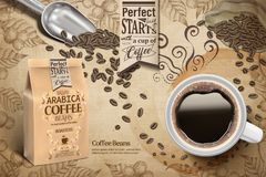 Arabica coffee beans ads. Cup of black coffee and paper bag package in 3d illustration, retro engraving coffee plants elements Royalty Free Stock Photo