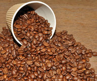 Arabica Coffee Beans And Takeaway Cup Stock Photography