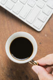 Arabica coffee cup. Cup of espresso coffee in homemade cafe shop Stock Image