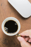 Arabica coffee cup. Cup of espresso coffee in homemade cafe shop Stock Images