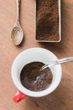Arabica coffee cup. Cup of espresso coffee in homemade cafe shop Stock Photography