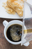Arabica coffee cup. Cup of espresso coffee in homemade cafe shop Royalty Free Stock Image