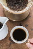 Arabica coffee cup. Cup of espresso coffee in homemade cafe shop Stock Photos