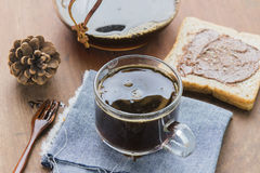 Arabica coffee cup. Cup of espresso coffee making by homemade with chocolate bread Stock Images