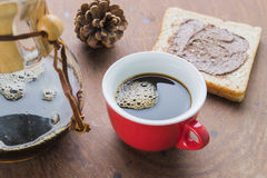 Arabica coffee cup. Cup of espresso coffee making by homemade with chocolate bread Royalty Free Stock Images