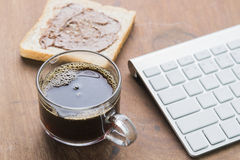 Arabica coffee cup. Cup of espresso coffee with working technology lifestyle Stock Images