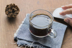 Arabica coffee cup. Cup of espresso coffee with working technology lifestyle Royalty Free Stock Photography