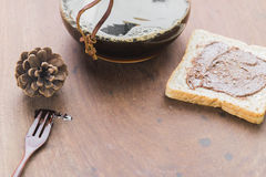Arabica coffee drink. Cup of espresso coffee making by homemade with chocolate bread Royalty Free Stock Photography