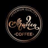 Arabica coffee logo. Vector illustration of handwritten lettering. Stock Images