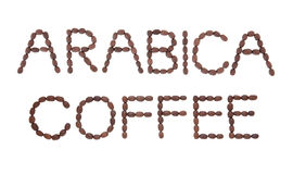 Arabica Coffee Sign. In word and letter form over white background Royalty Free Stock Image