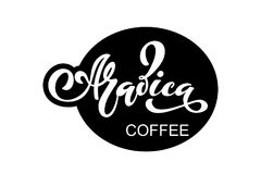 Arabica koffieembleem Vectorillustratie van het Met de hand geschreven Van letters voorzien Stock Afbeeldingen