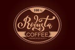 Arabica koffieembleem Vectorillustratie van het Met de hand geschreven Van letters voorzien Royalty-vrije Stock Fotografie