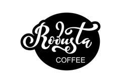 Arabica koffieembleem Vectorillustratie van het Met de hand geschreven Van letters voorzien Royalty-vrije Stock Foto