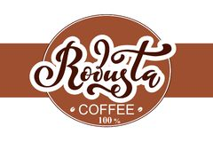Arabica koffieembleem Vectorillustratie van het Met de hand geschreven Van letters voorzien Royalty-vrije Illustratie