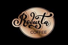 Arabica koffieembleem Vectorillustratie van het Met de hand geschreven Van letters voorzien Stock Afbeelding