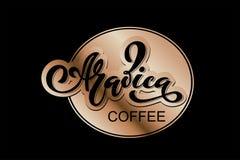 Arabica koffieembleem Vectorillustratie van het Met de hand geschreven Van letters voorzien Stock Illustratie