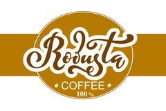 Arabica koffieembleem Vectorillustratie van het Met de hand geschreven Van letters voorzien Royalty-vrije Stock Foto's