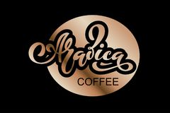 Arabica koffieembleem Vectorillustratie van het Met de hand geschreven Van letters voorzien Stock Foto's