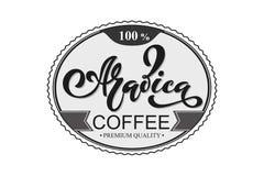 Arabica koffieembleem Vectorillustratie van het Met de hand geschreven Van letters voorzien Royalty-vrije Stock Afbeelding