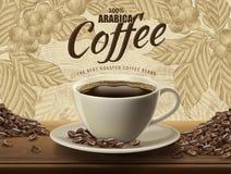 Arabicakaffeannonser royaltyfri illustrationer