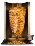 Arabier roosterde het Vlees van Kippenshawarma het Koken Wit Stock Afbeelding