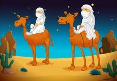 Arabieren op kameel stock illustratie