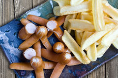 Arabiki wurstel and french fries Royalty Free Stock Image