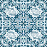 Arabisch Blauw Naadloos Patroon met vissen en lotusbloem Royalty-vrije Stock Afbeeldingen