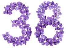 Arabisch cijfer 38, achtendertig, van geïsoleerde bloemen van altviool, Stock Foto's