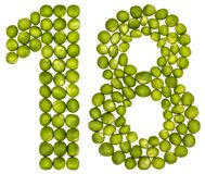 Arabisch cijfer 18, achttien, van groene die erwten, op wit worden geïsoleerd Stock Fotografie