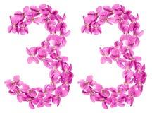 Arabisch cijfer 33, drieëndertig, van geïsoleerde bloemen van altviool, Royalty-vrije Stock Fotografie