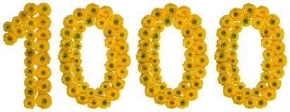 Arabisch cijfer 1000, duizend, van gele bloemen van boter Stock Foto