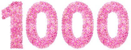 Arabisch cijfer 1000, duizend, van roze vergeet-mij-nietje flowe Stock Foto's