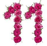 Arabisch cijfer 11, elf, van rode geïsoleerde bloemen van roos, Stock Afbeelding