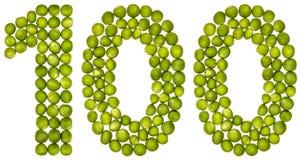 Arabisch cijfer 100, honderd, van groene die erwten, op wh worden geïsoleerd Stock Foto